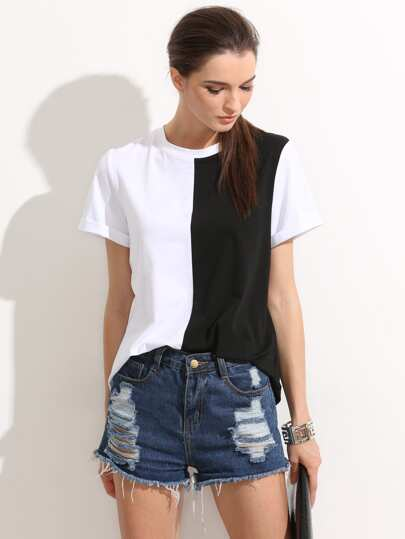Colorblock Rolled Up Sleeve Tee