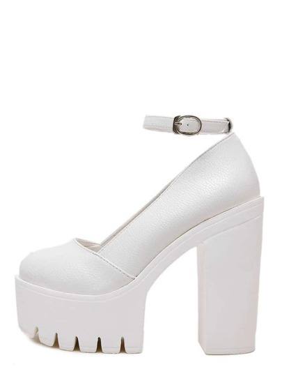 White Round Toe Buckle Strap Platform Chunky Pumps