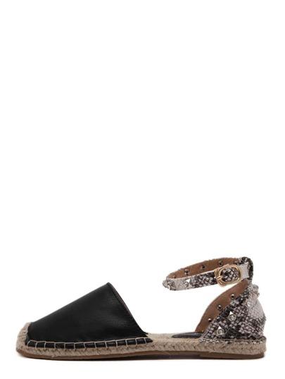 Scarpe a punta quadrata senza tacco con strass decorati - nero
