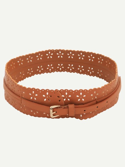 Brown Hollow Flower Buckle Wide Belt