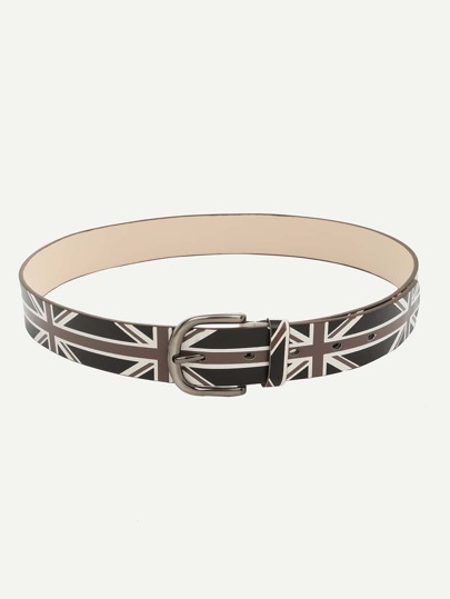 The Union Jack Print Buckle Belt