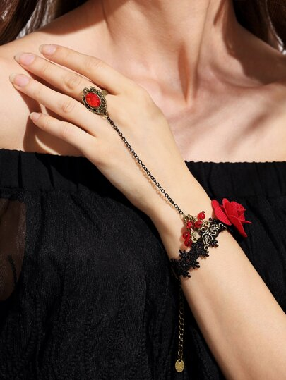 Vintage Flower Lace Rhinestone Hand Chain