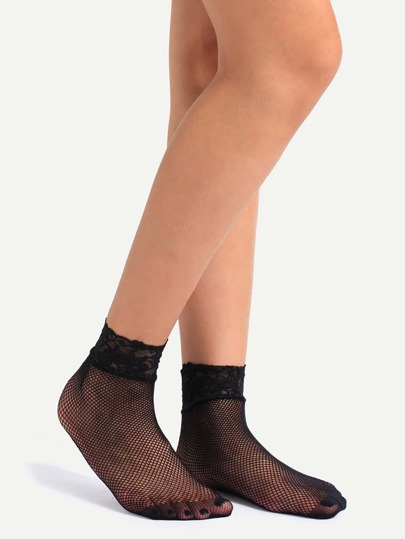 Black Hollow Mesh Lace Ankle Socks