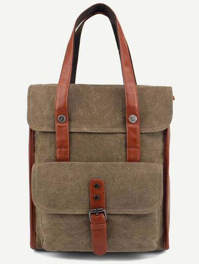 Khaki Buckled Strap Front Double Handle Flap Backpack