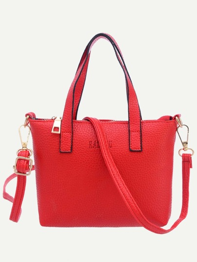 Red Pebbled Faux Leather Tote Bag With Strap
