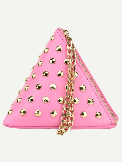 Pink Studded Triangle Chain Strap Wristlet