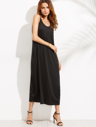 Black Shift Cami Dress With Pockets