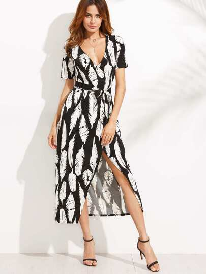 Deep V Neck Feather Print Self Tie Split Wrap Dress