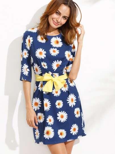 Blue Random Daisy Print Elbow Sleeve Dress
