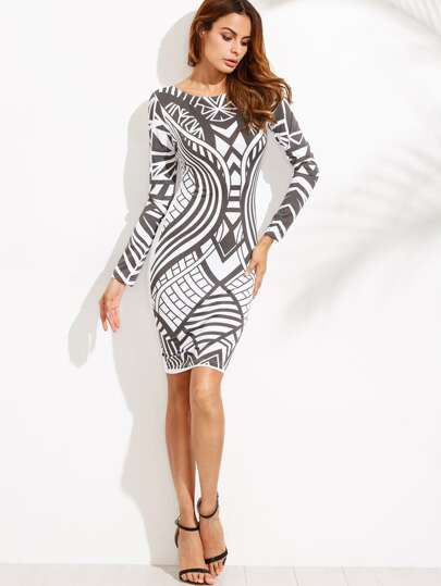 Contrast Print Long Sleeve Bodycon Dress