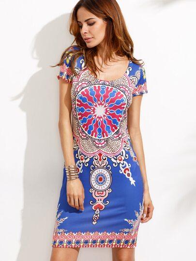 Multicolor Vintage Print Sheath Dress