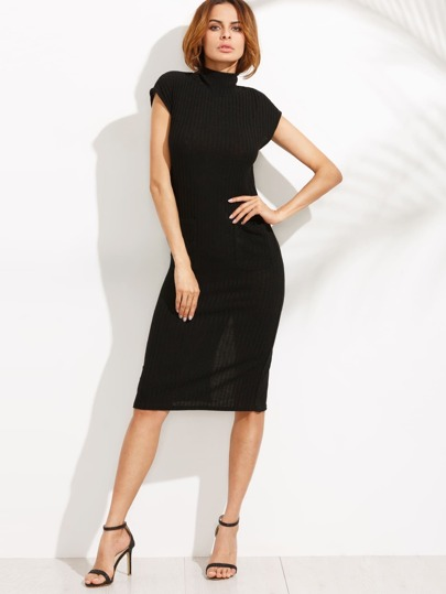 Black High Neck Split Back Pencil Dress