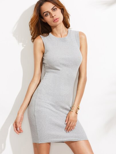 Grey Sleeveless Sheath Tank Dress