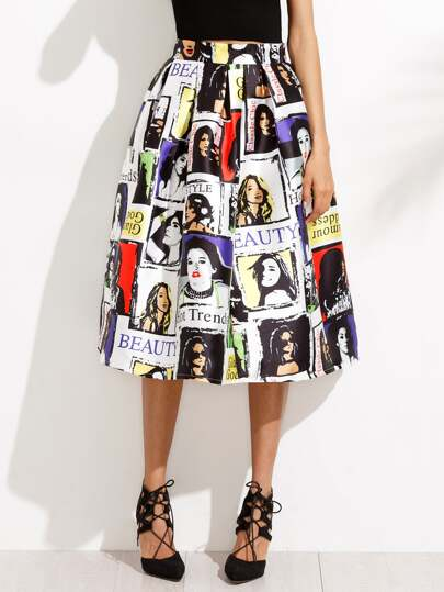 Random Graphic Print Flare Skirt