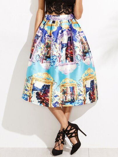 Multicolor Graphic Print Flare Skirt