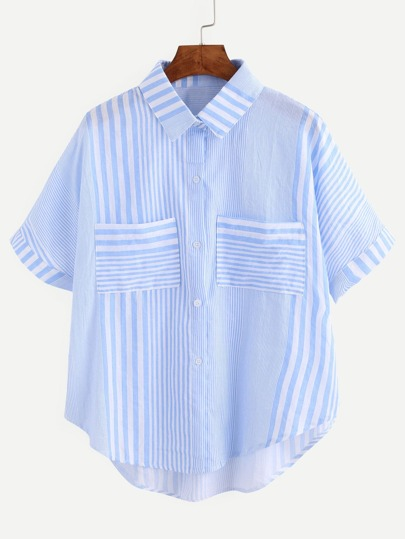 Blue Striped High Low Pocket Shirt