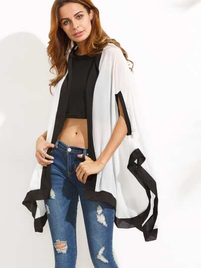 Contrast High Low Hooded Kimono
