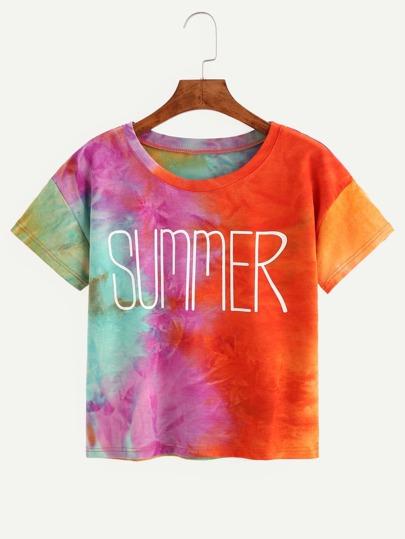 Multicolor Tie Dye Letter Print T-shirt