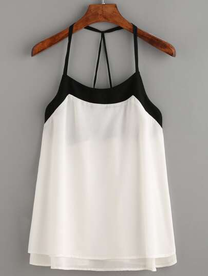 White Contrast Strappy Back Cami Top