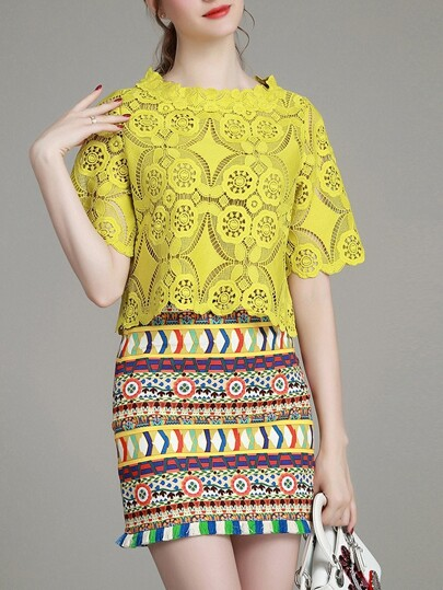 Yellow Crochet Hollow Out Top With Print Skirt