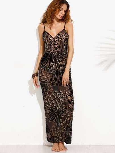 Black Velvet Splicing Sheer Slip Dress