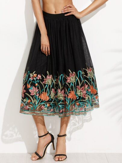 Black Floral Embroidery Tape Flare Skirt