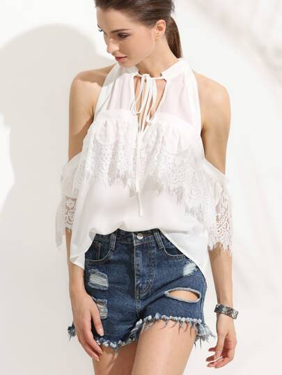 White Tie Neck Cold Shoulder Lace Blouse