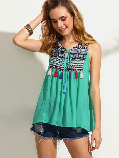 Green Print Tassel Tie Sleeveless Spliced Blouse