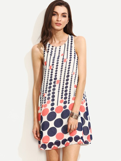 Multicolor Polka Dot Sleeveless Shift Dress