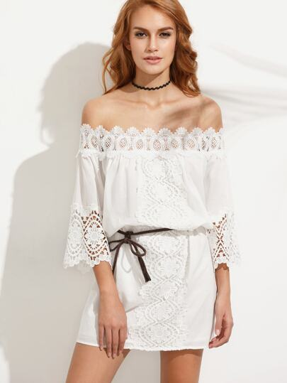 White Crochet Off The Shoulder Dress