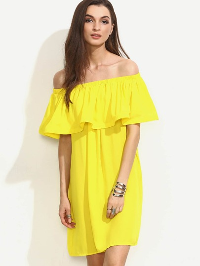 Flounce Layered Neckline Swing Dress
