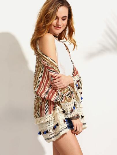 Multicolor Print Tassel Trim Long Sleeve Kimono