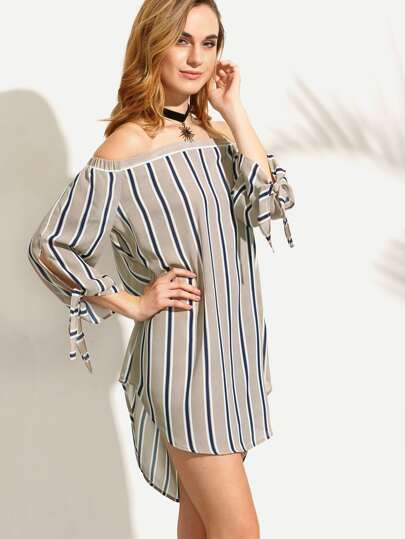 Striped Tie Cuff Off The Shoulder Shift Dress