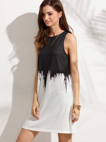 Color Block Sleeveless Shift Dress