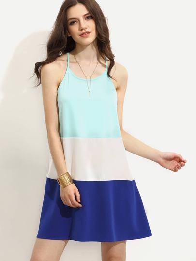 Color Block Spaghetti Strap A-line Dress