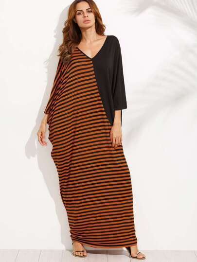 Double V-cut Color Block Dolman Sleeve Full Length Dress
