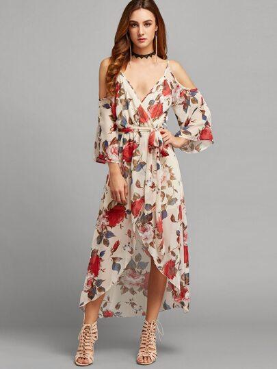 Multicolor Floral Tie Waist Cold Shoulder Surplice Dress