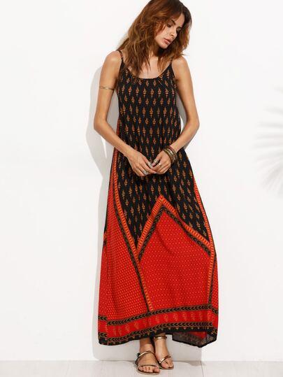 rückenfreies Cami Kleid mit Druck - kontrastfarbig