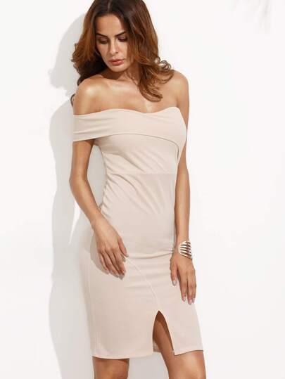 Apricot Off the Shoulder Split Front Bodycon Dress