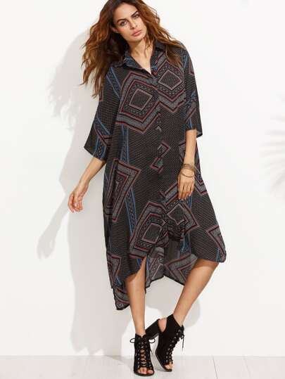 Black Print High Low Shift Shirt Dress