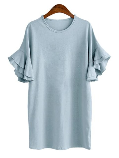 Blue Ruffle Sleeve Tee Dress