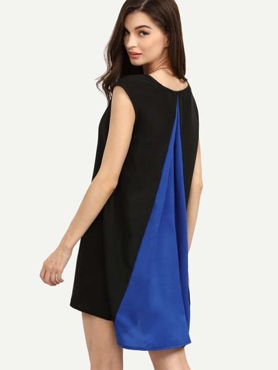 Black Blue Color Block High Low Tunic Dress