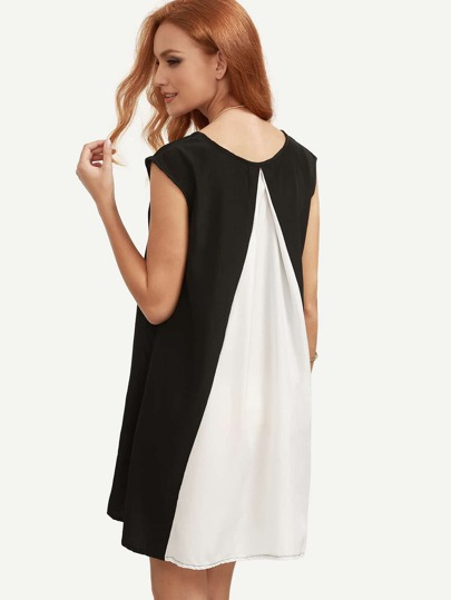 Black White Color Block High Low Tunic Dress