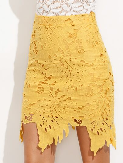 Yellow Asymmetric Hem Crochet Overlay Skirt