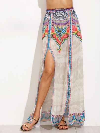 Tribal Print Slit Elastic Waist Skirt