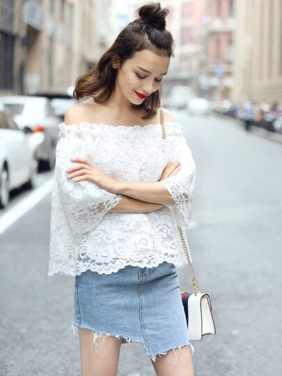 White Off the Shoulder Lace Overlay Top