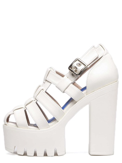 White Buckle Platform Chunky Caged Pumps