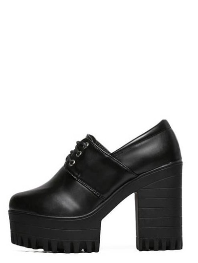 Black Round Toe Lace-up Platform Chunky Pumps