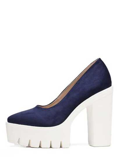 Navy Pointed Toe Platform Chunky Pumps