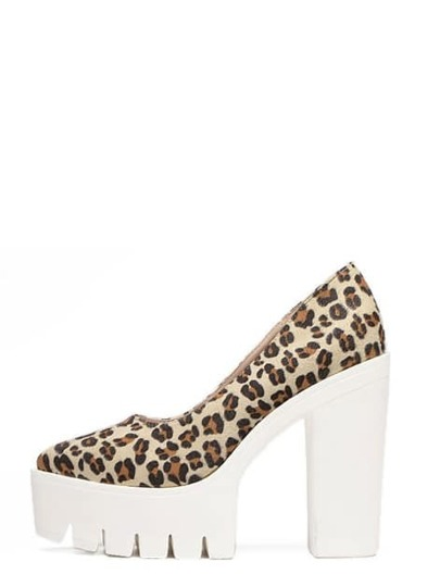 Leopard Pointed Toe Platform Chunky Pumps